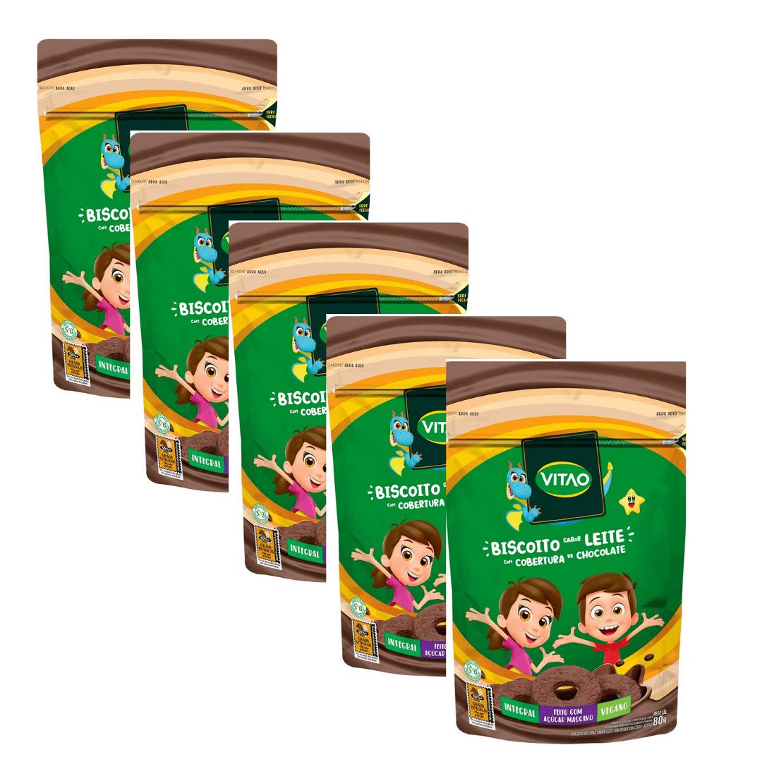 Biscoito de Leite Vegano com Cobertura de Chocolate Kids Vitao 80g Kit com 5