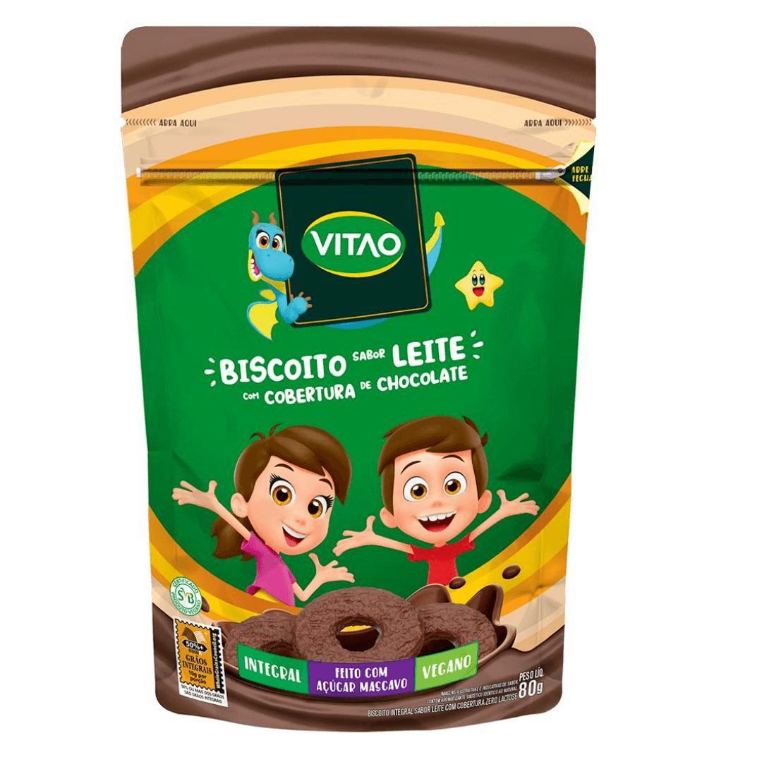 Biscoito de Leite  Vegano com Cobertura de Chocolate Kids Vitao 80g