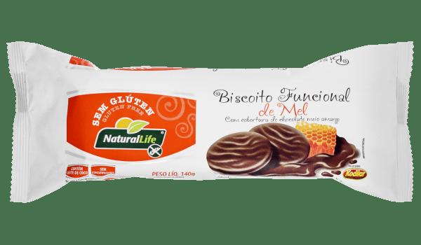 Biscoito de mel coberto com chocolate Natural Life 140g