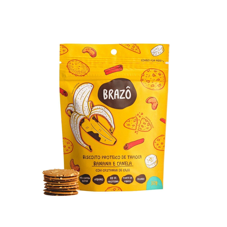 Biscoito Proteico, Vegano, Sem Glúten | Snacks sabor Banana e Canela Brazô 30g