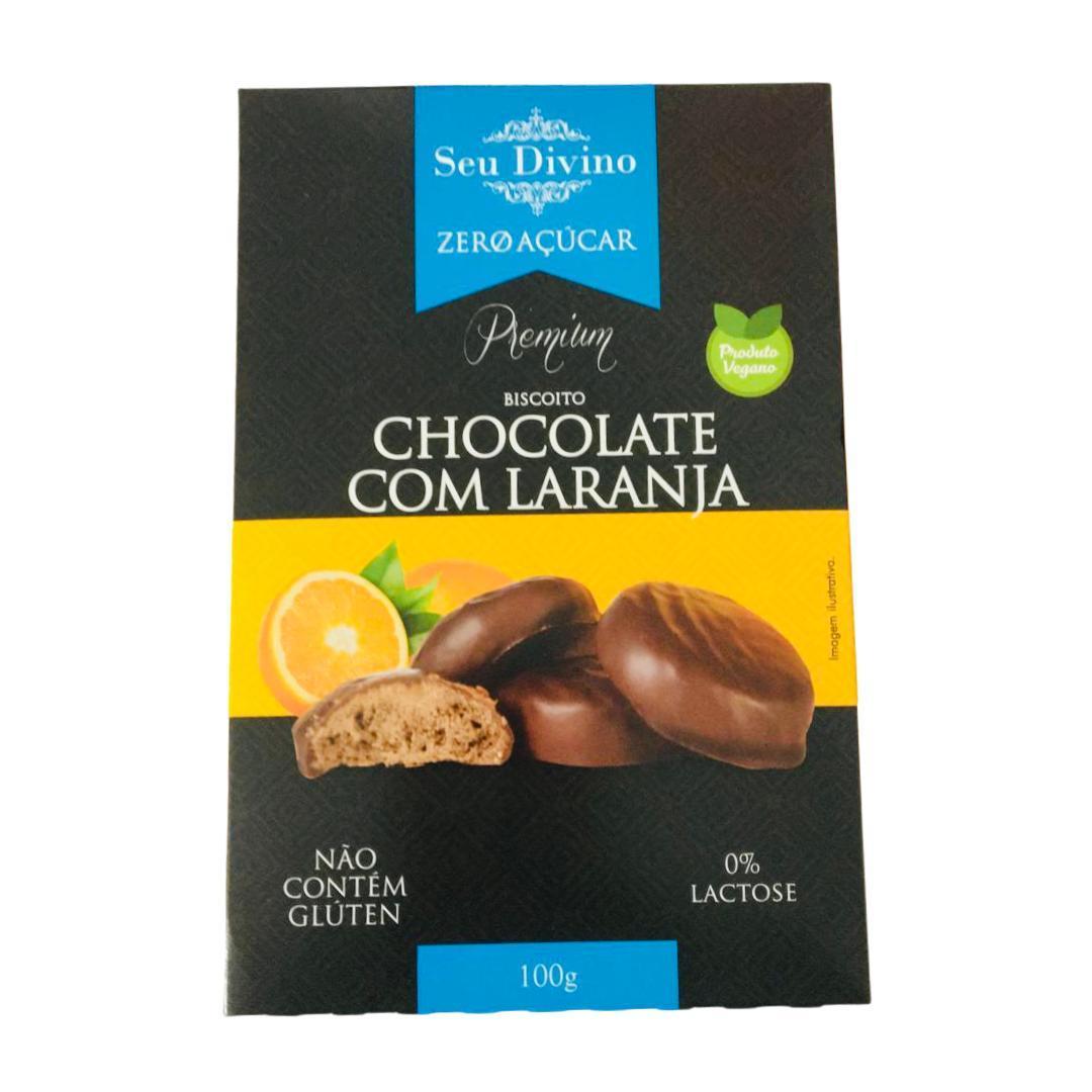 Biscoito vegano chocolate com laranja zero açúcar Seu Divino 100g