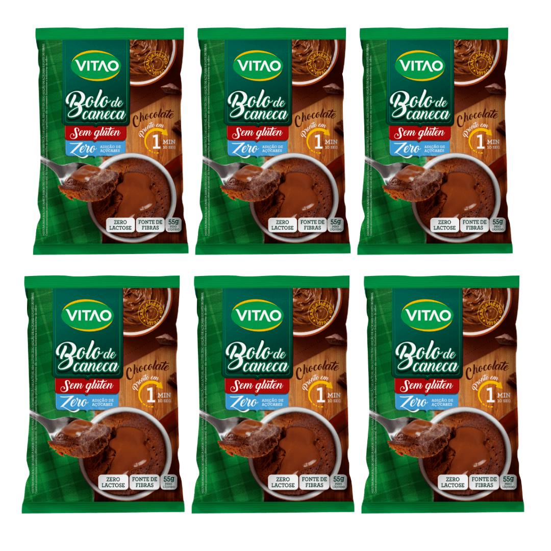 Bolo de Caneca Chocolate Sem Glúten Zero Açúcar Vitao Kit com 6