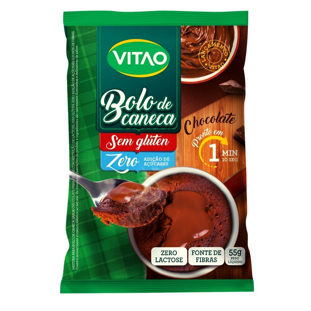 Bolo de Caneca de Chocolate Sem Glúten Vitao 55g