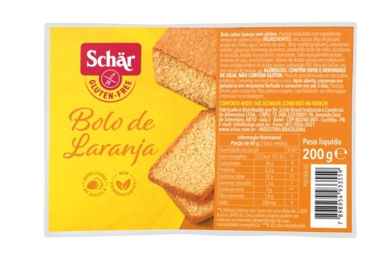 Bolo de laranja Dr. Schar 200g