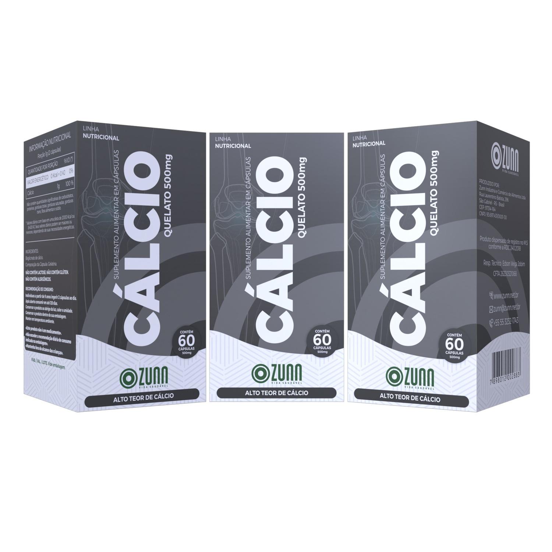 Cálcio Quelato 500mg - 60 cápsulas KIT 3 UNIDADES