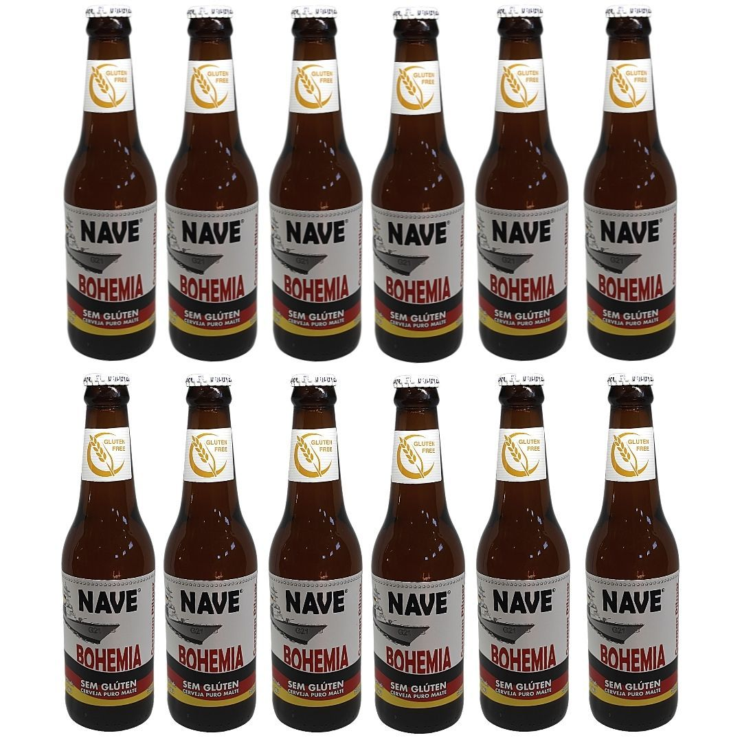 Cerveja Sem Glúten Pilsen Nave Bohemia German 355ml Cx c 12