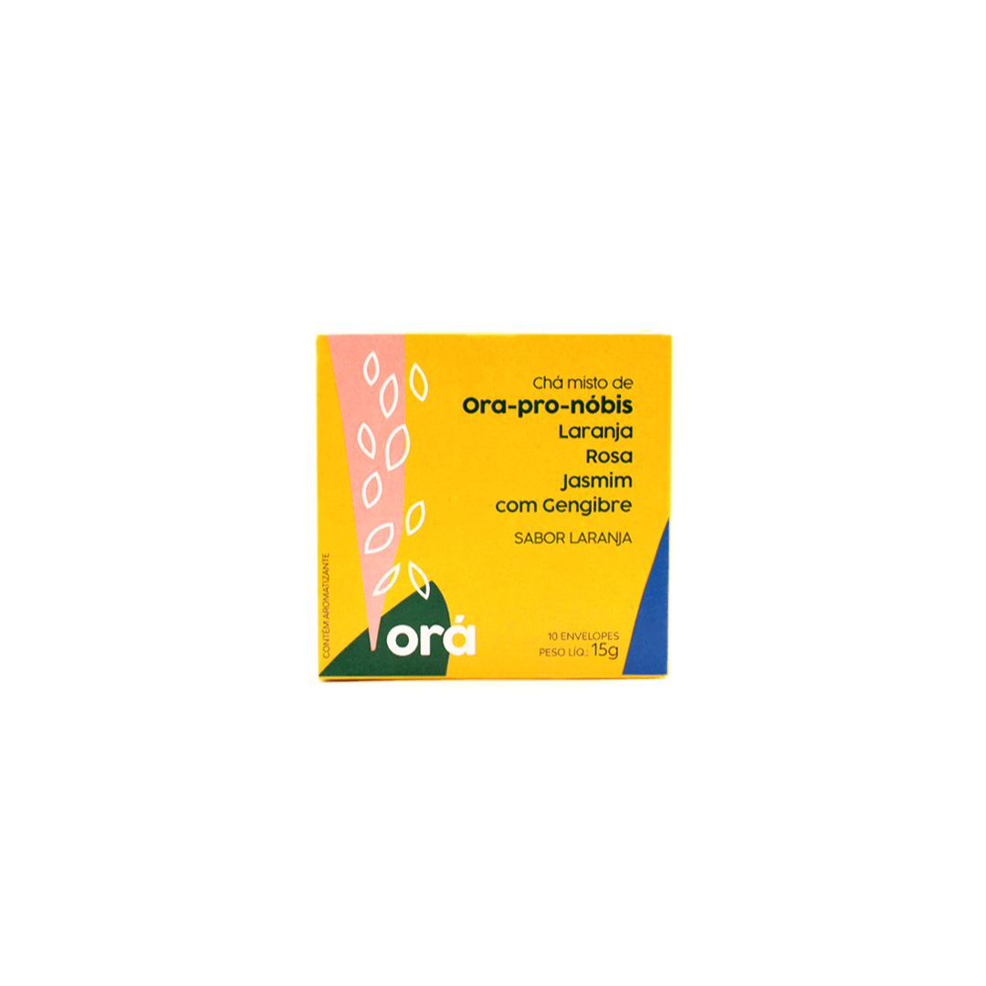 Cha Ora-pro-nobis com laranja, jasmim e gengibre 10 saches de 15g