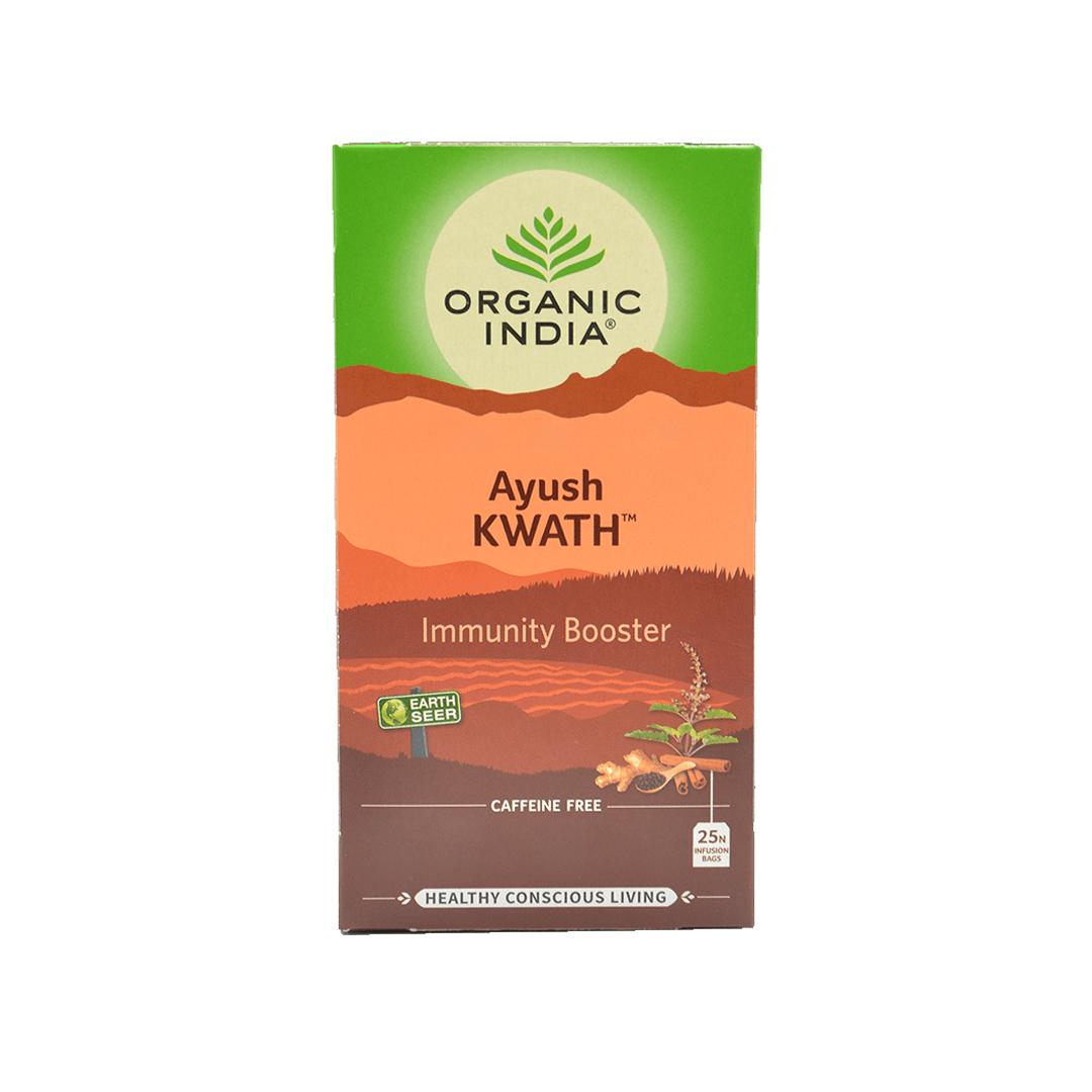 Chá Tulsi Ayush Kwath com Canela, Gengibre e Pimenta Organic India Cx 25 Sachês 45g