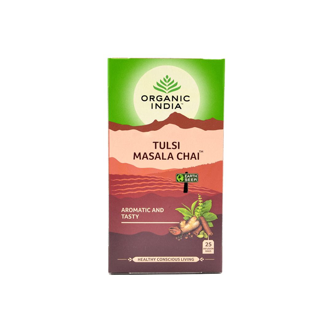 Chá Tulsi de Masala  Organic India Cx 25 Saches 45g