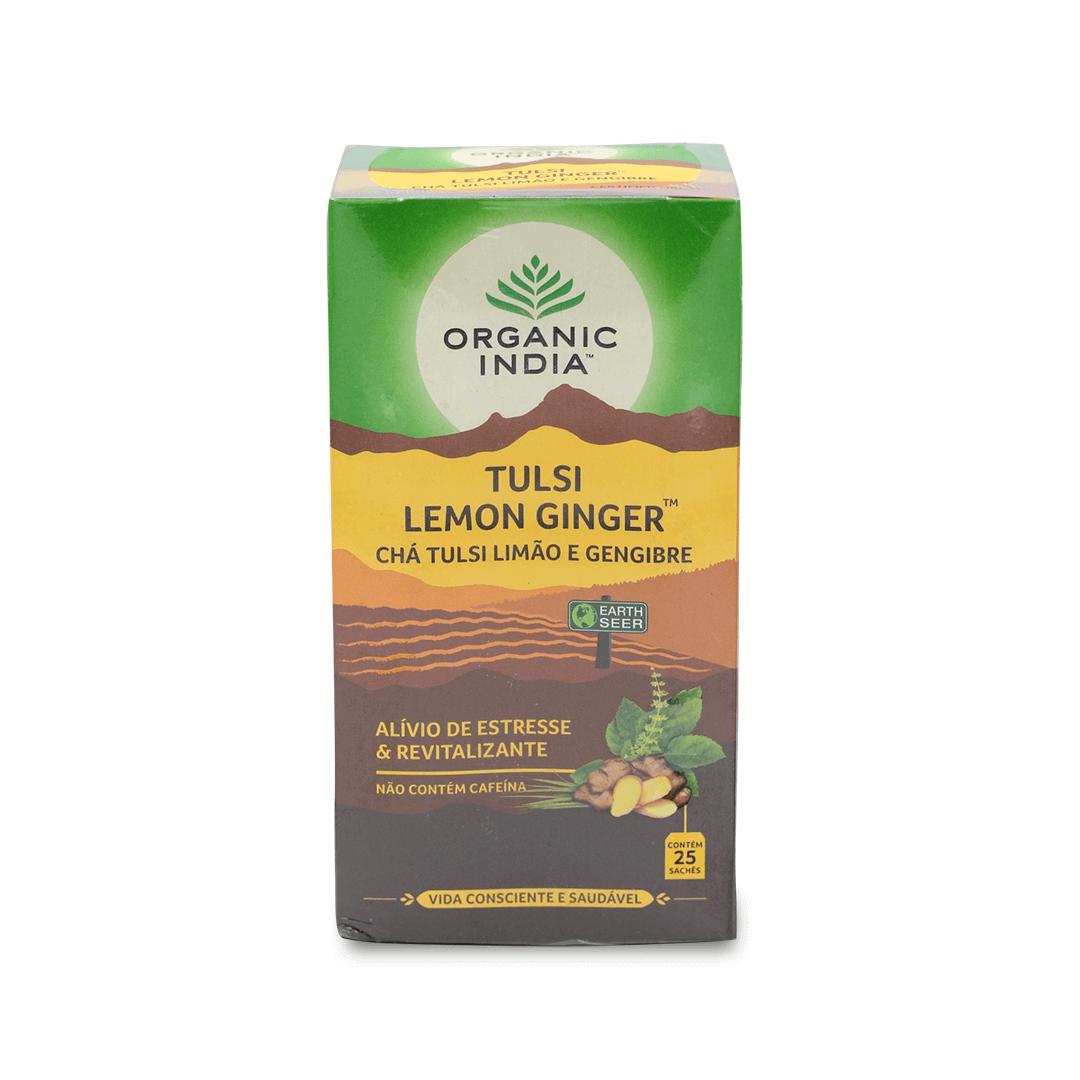 Chá Tulsi Limão e Gengibre Organic India Cx 25 Sachês 45g