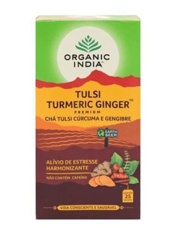 Chá Tulsi Turmeric Ginger Cúrcuma Gengibre Cx 25 Sachês 45g