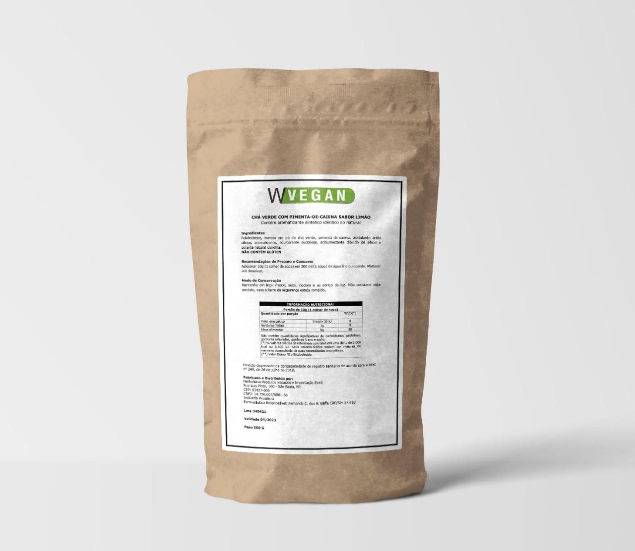 Chá Verde com Pimenta Caiena Sabor Limão 500g Embalagem Refil WVegan