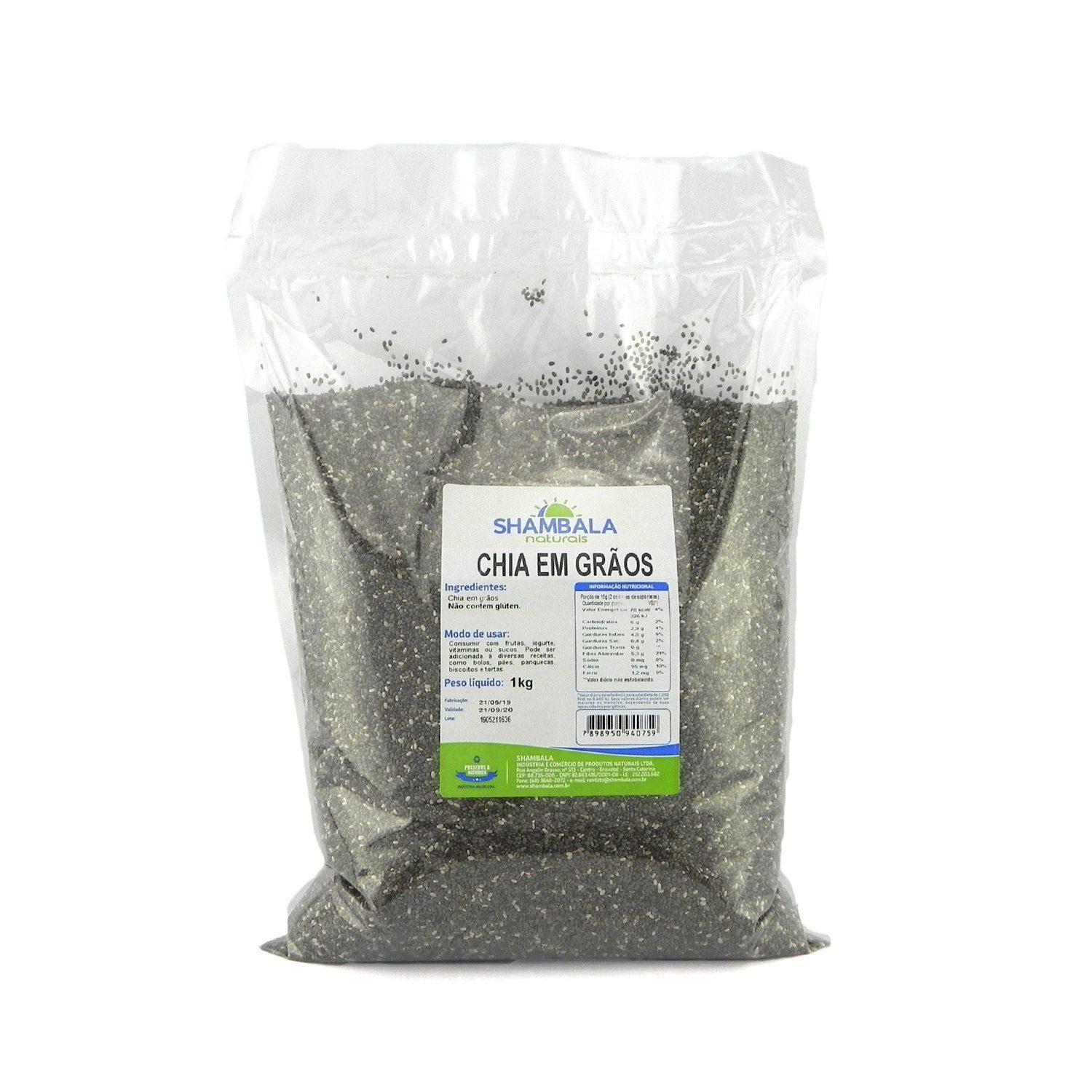 Chia preta em grãos Shambala 1Kg