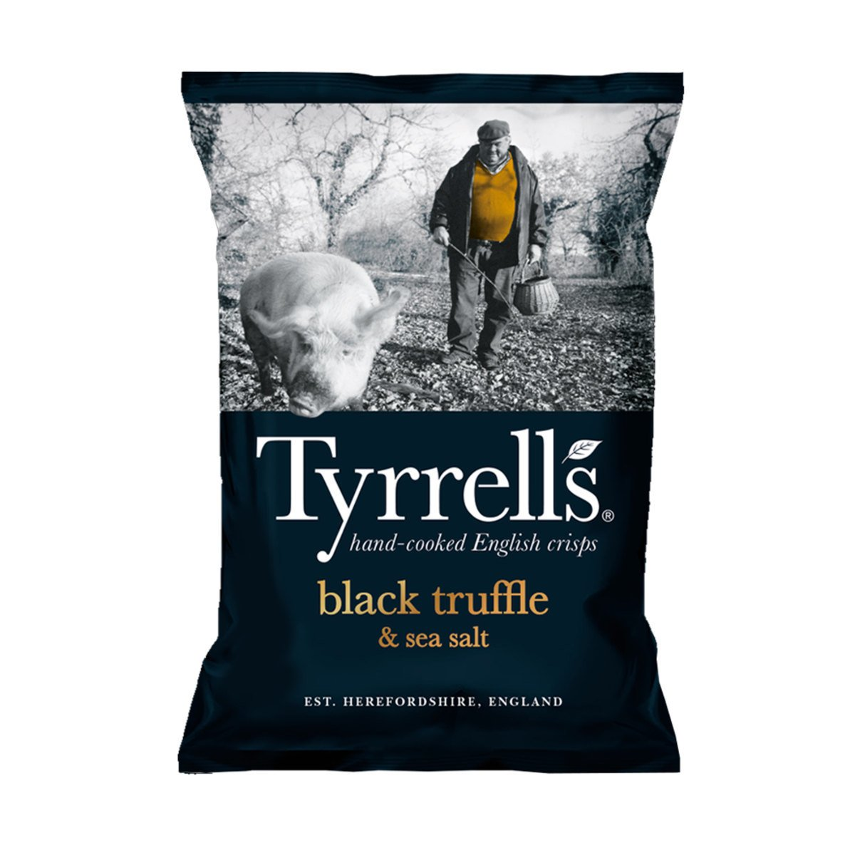 "Chips de Batata Black Truffle e Sea Salt"" Tyrrells 150g"