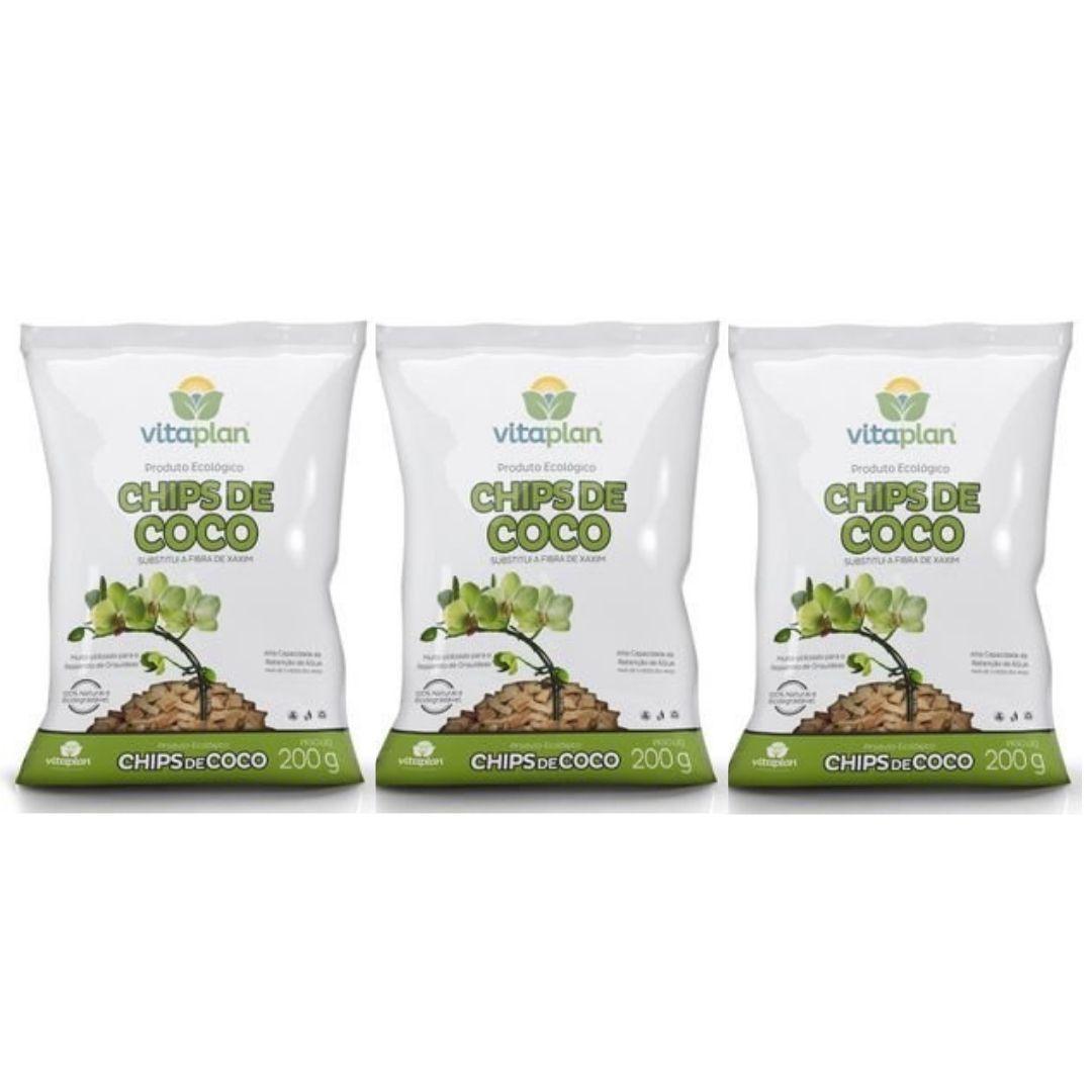 Chips de Coco Vitaplan 200g Kit com 03