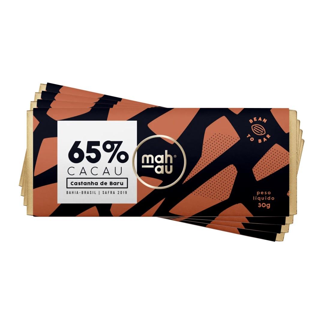 Chocolate 65% Cacau com Castanha de Baru - Mahau 30g Kit com 4