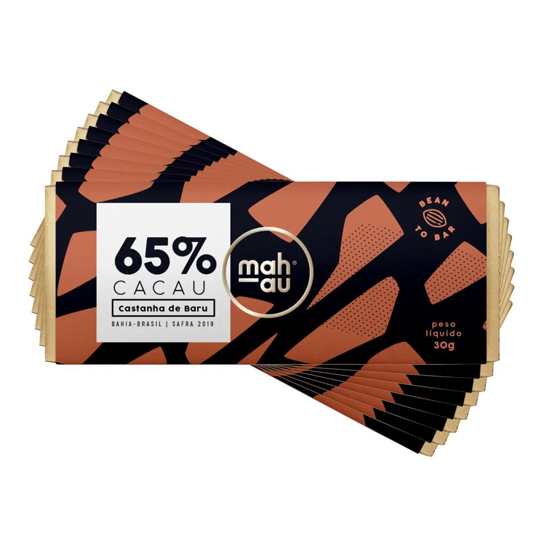 Chocolate 65% Cacau com Castanha de Baru - Mahau 30g Kit com 8