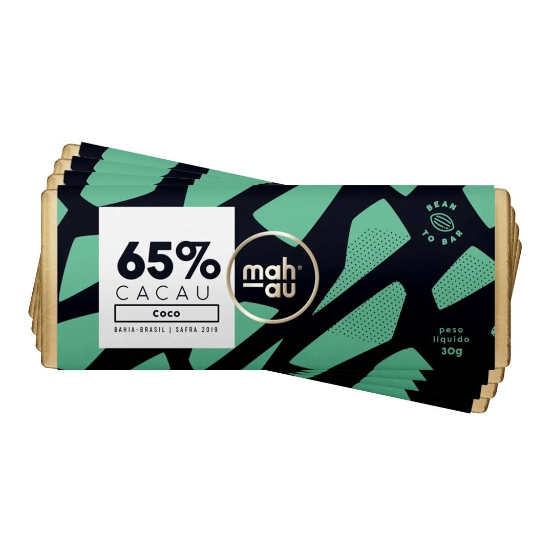 Chocolate 65% Cacau com Coco - Mahau 30g Kit com 4