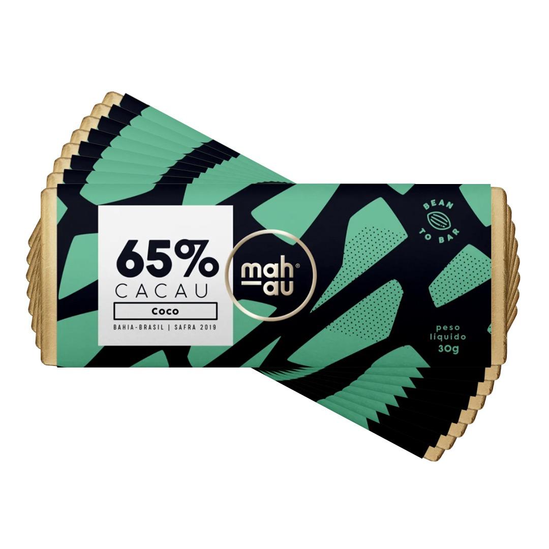 Chocolate 65% Cacau com Coco - Mahau 30g Kit com 8