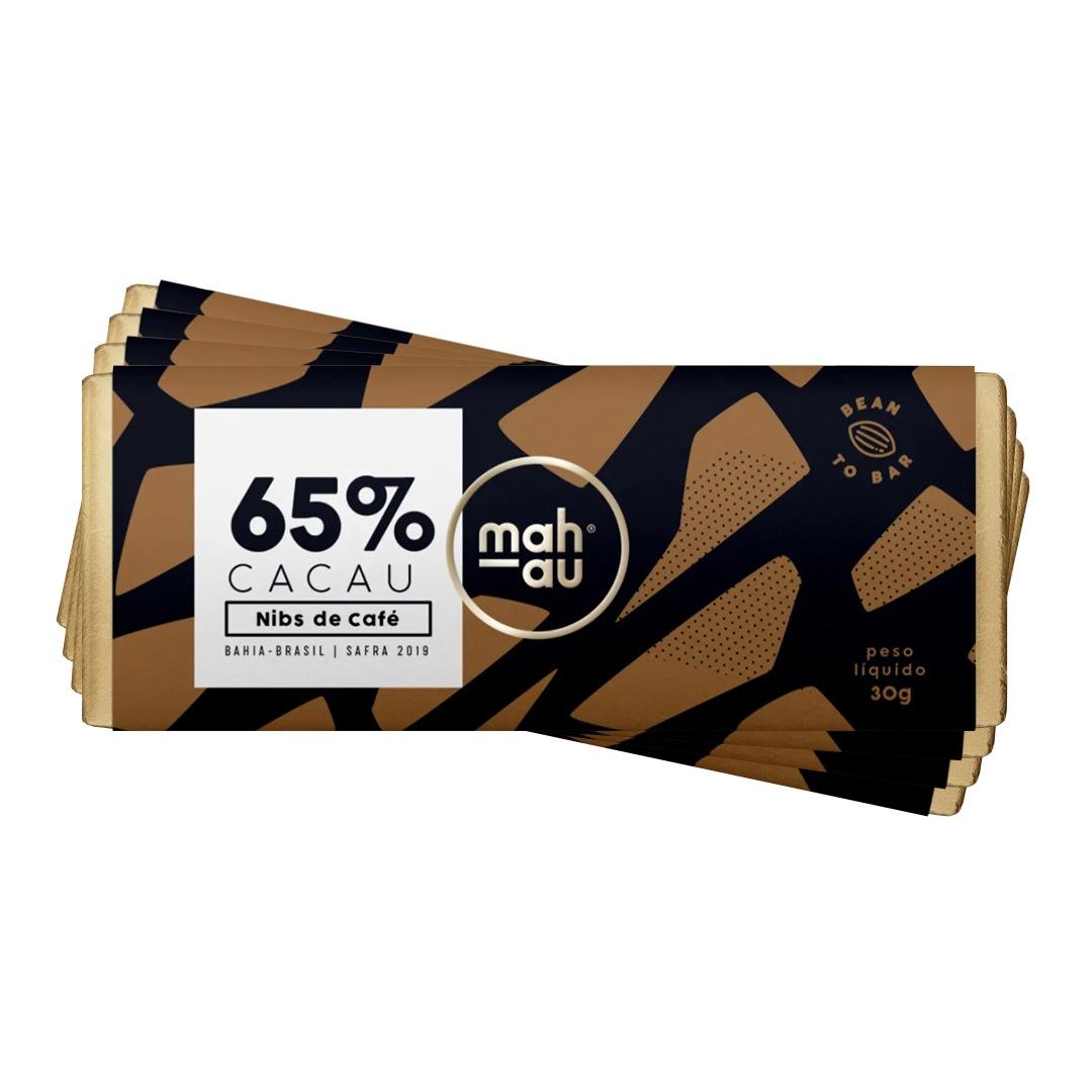Chocolate 65% Cacau com Nibs de Café - Mahau 30g Kit com 4
