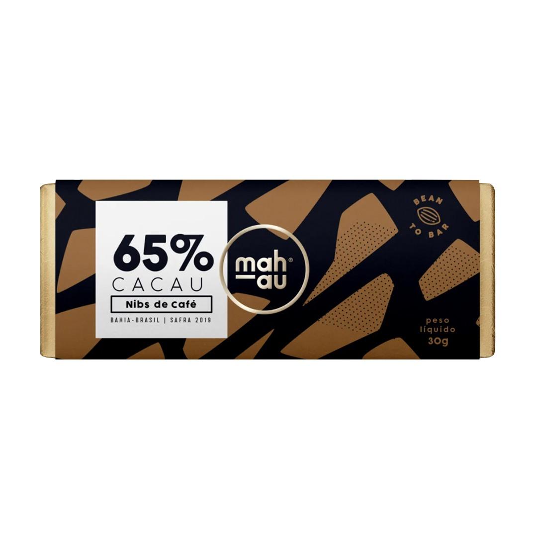 Chocolate 65% Cacau com Nibs de Café - Mahau 30g