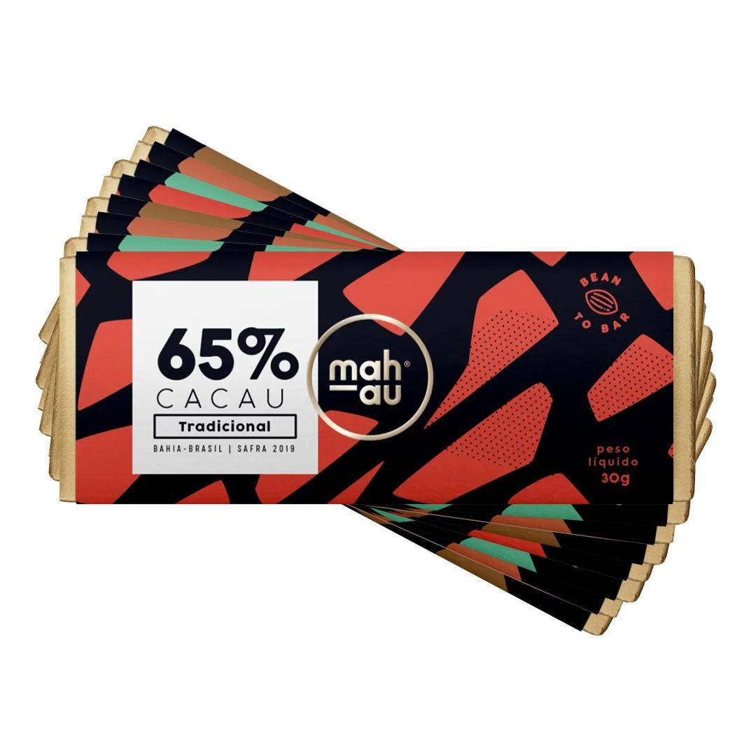 Chocolate 65% Cacau - Mahau 30g - Kit com 8, 2 de cada sabor (Tradicional, Nibs de Café, Coco e Castanha de Baru)