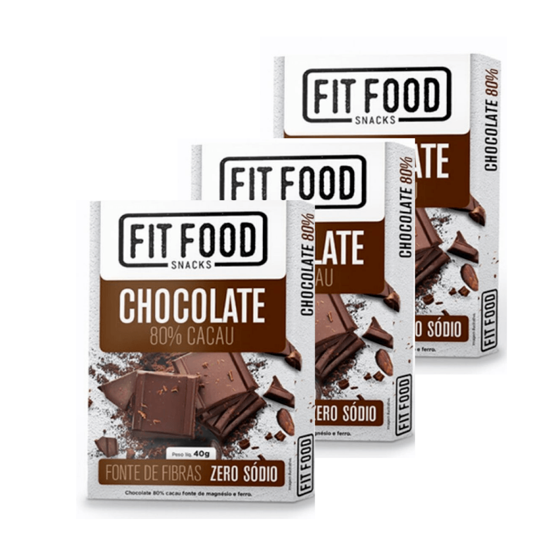 Chocolate 80% Cacau Fonte de Fibras  Fit Food 40g Kit com 3