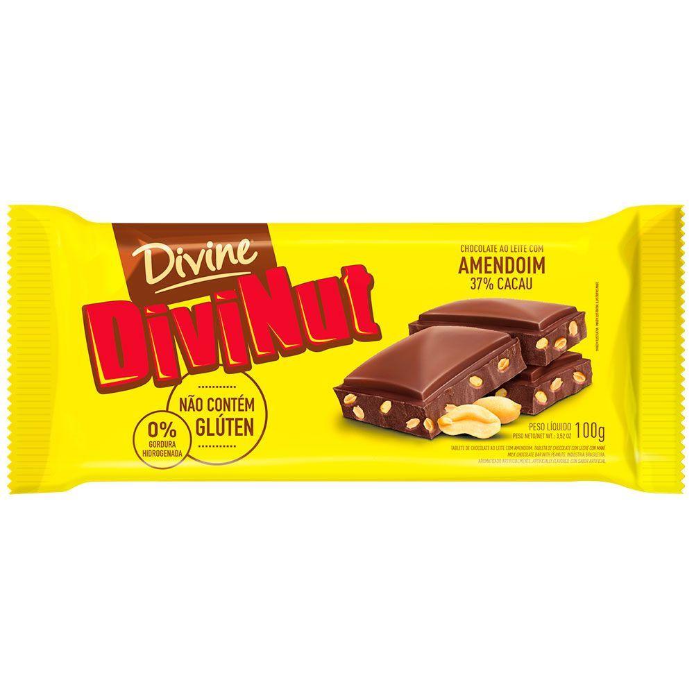 Chocolate ao leite com amendoim Divine 100g
