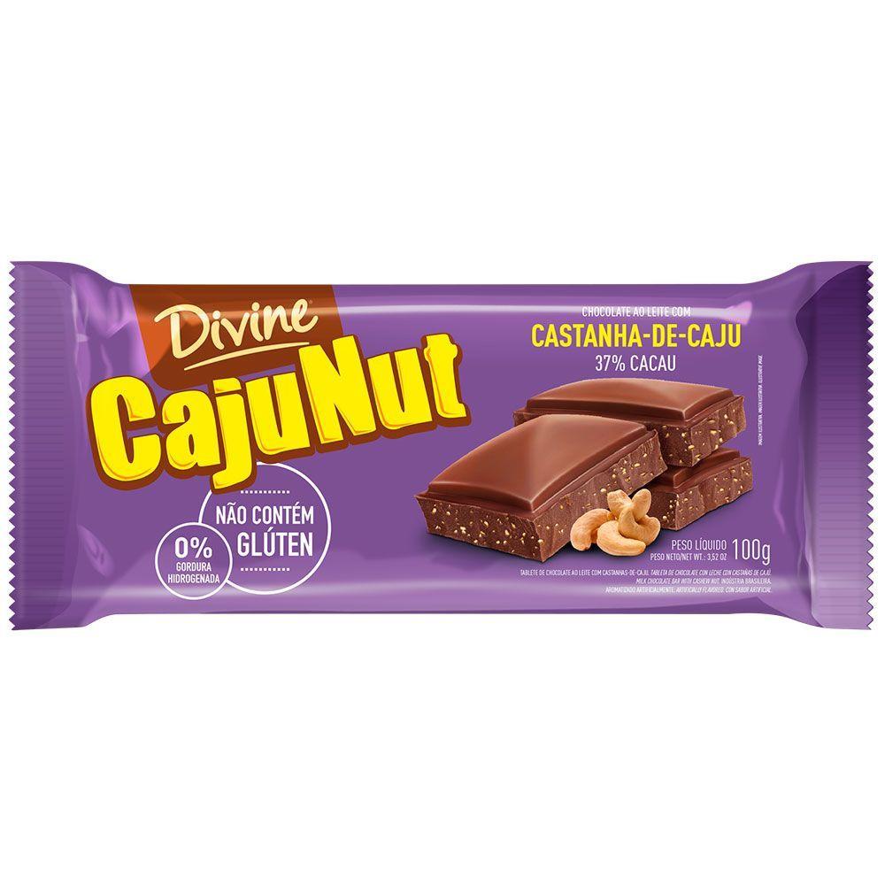 Chocolate ao leite com castanha de caju Divine 100g
