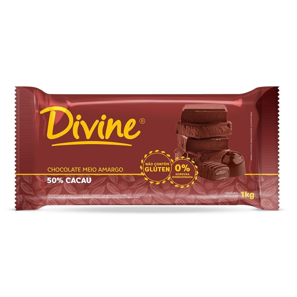 Chocolate meio amargo Divine 1Kg