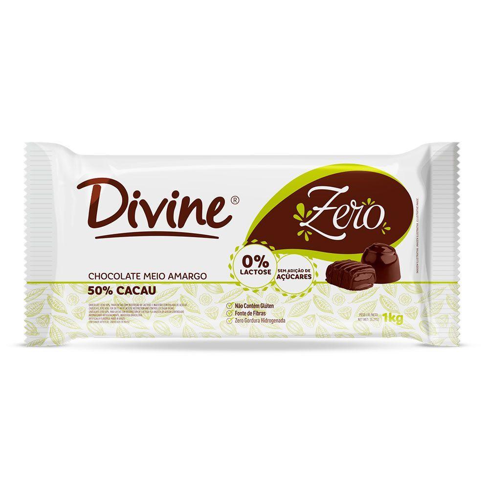 Chocolate meio amargo zero Divine 1Kg