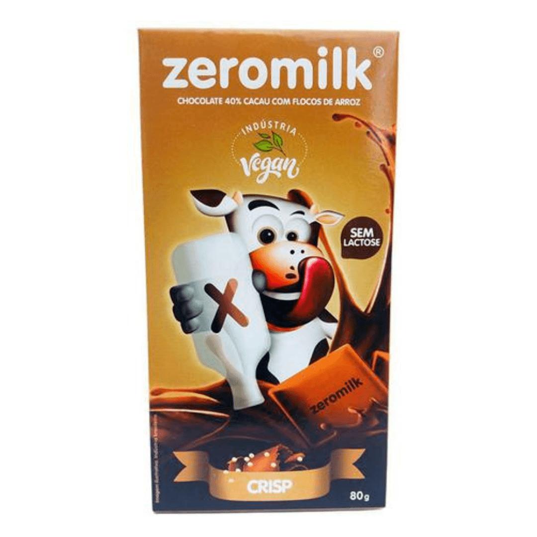 Chocolate Zero Leite 40% Cacau Crisp Vegano - ZeroMilk  80g