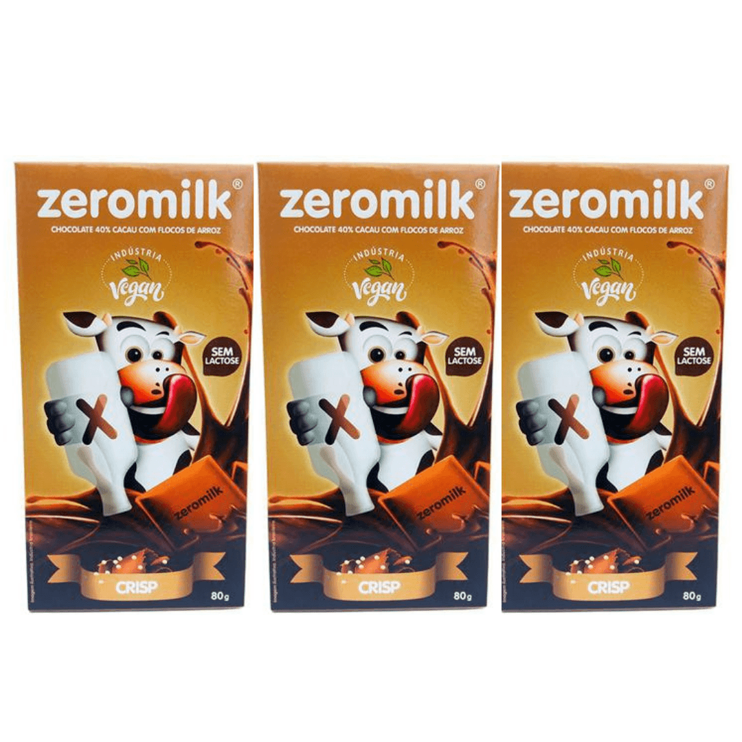 Chocolate Zero Leite 40% Cacau Crisp - ZeroMilk  80g Kit com 3