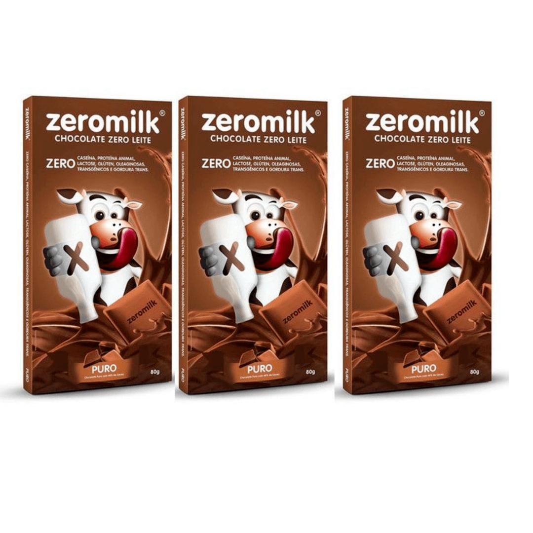 Chocolate Zero Leite Puro  ZeroMilk  80g Kit com 3