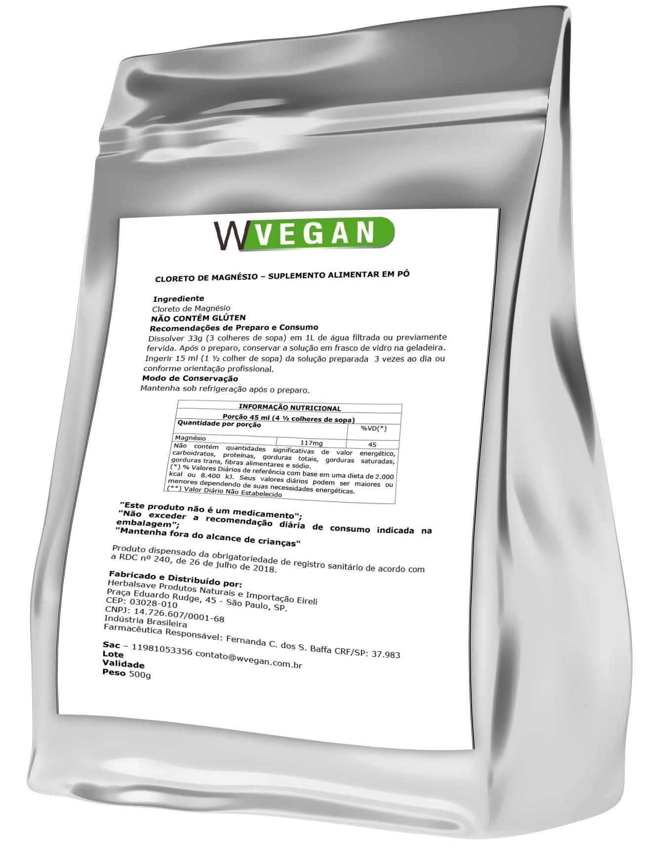 Cloreto de Magnesio PA 500g Puro Embalagem Refil WVegan