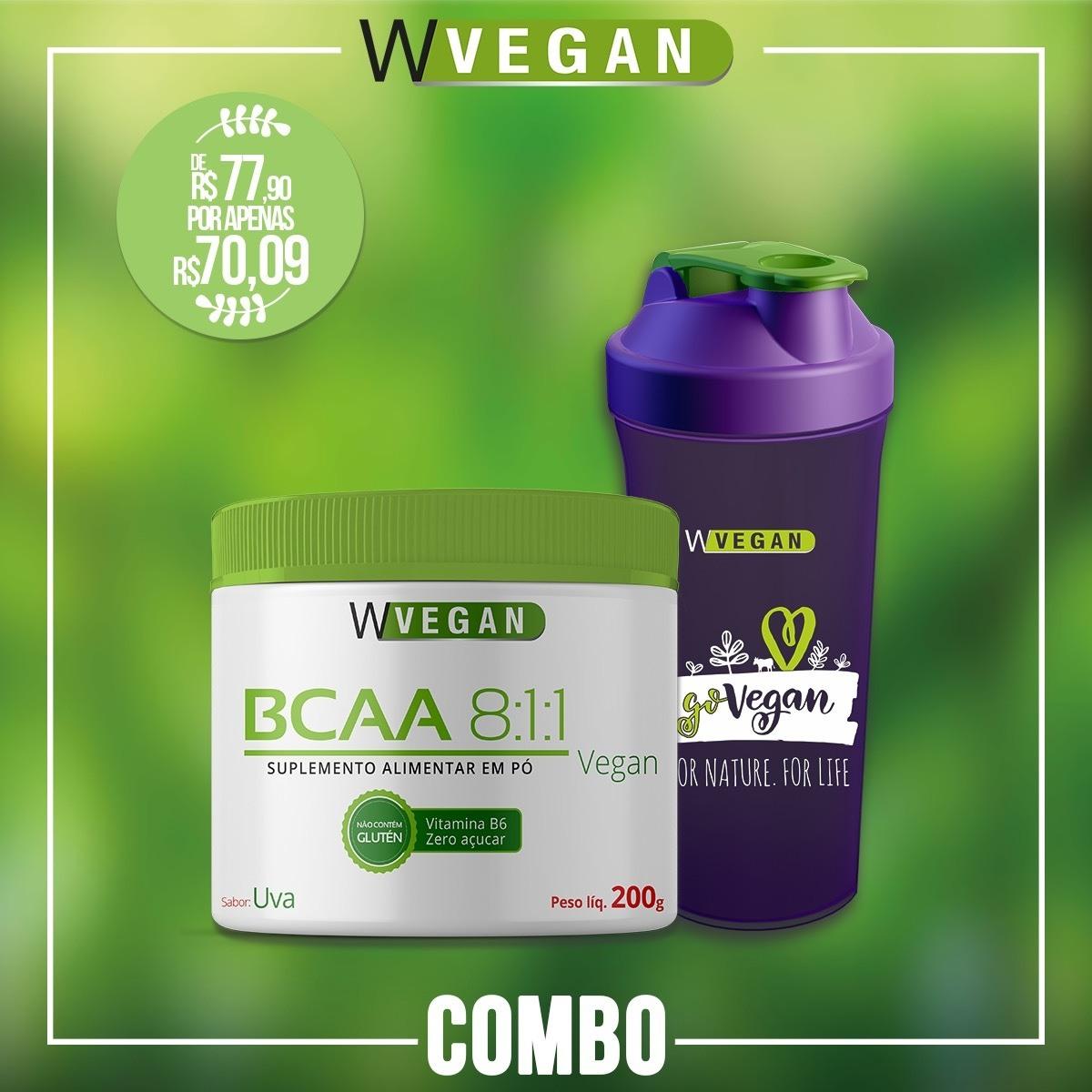 Combo 1 BCAA 200g WVegan Uva + 1 Coqueteleira GoVegan