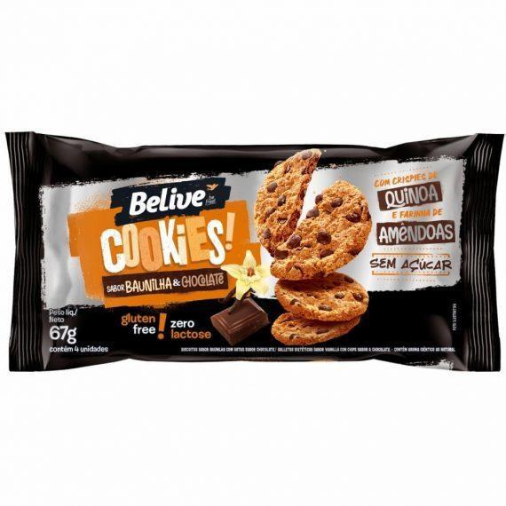 Cookies Baunilha com Chocolate sem açúcar Belive 67g