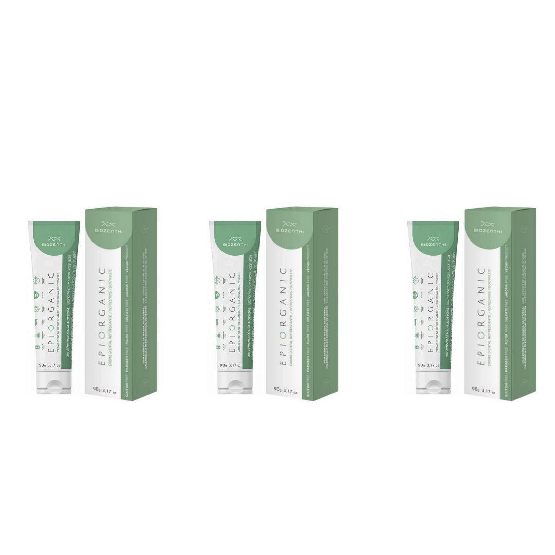 Creme Dental Nat e Vegano Epiorganic 90g Biozenthi KIT c/ 3