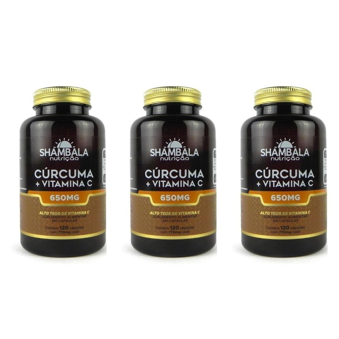 Cúrcuma Com Vitamina C Shambala 120 Caps X 650mg Kit com 3