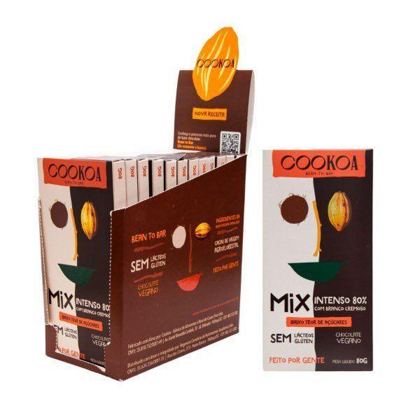 Display c/ 12 barras de Chocolate Mix (Intenso 80% + Branco Cremoso) de 80g - Cookoa