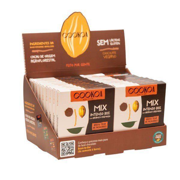 Display c/ 18 barras de Chocolate Mix (Intenso 80% + Branco Cremoso) de 30g - Cookoa