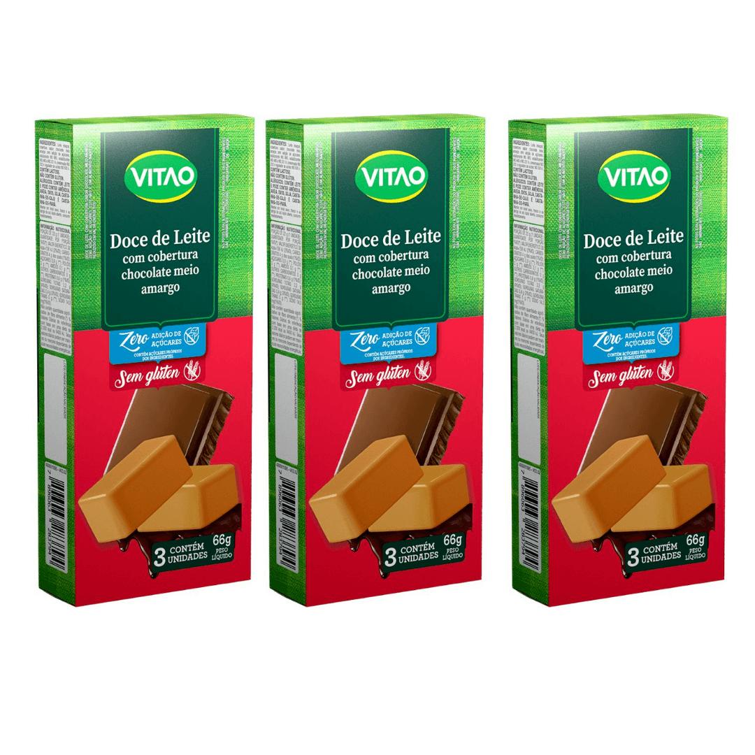 Doce de Leite  Zero com Cobertura de Chocolate Vitao 22g Kit com 3