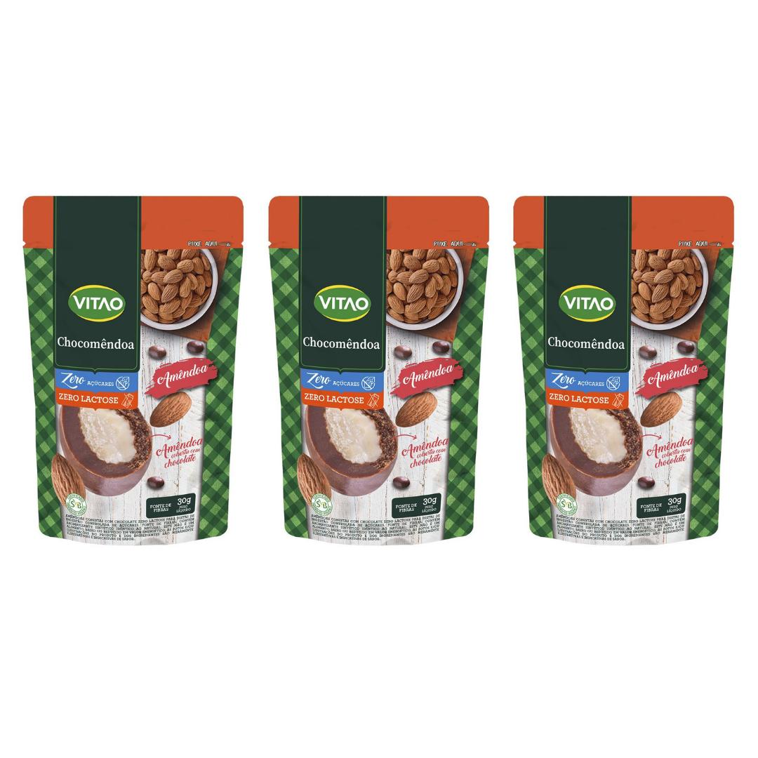 Drageados Zero Lactose com Amêndoa 90  Vitao - KIT com 3