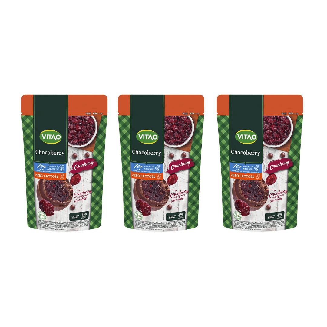 Drageados Zero Lactose com Cranberry 90g Vitao - KIT com 3