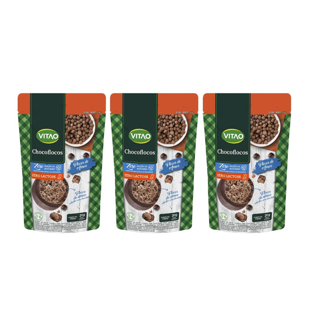 Drageados Zero Lactose com Flocos de Arroz Vitao 90g - KIT com 3