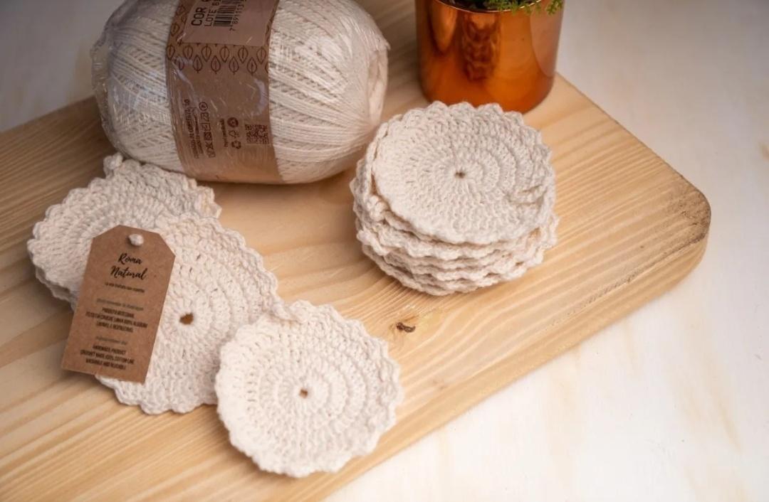 Ecopads 10 Discos de Crochê - 100%Algodão - Roma Natural