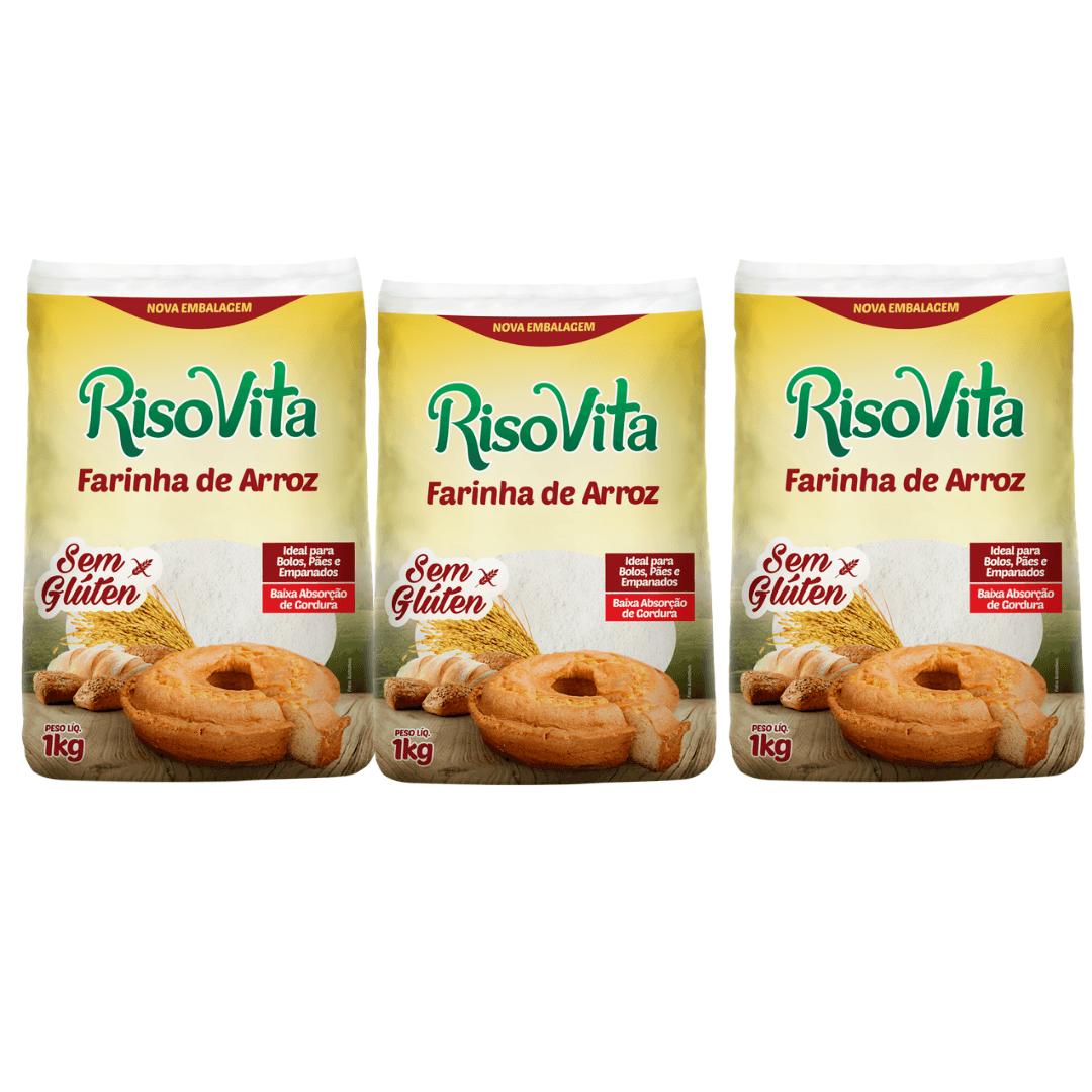 Farinha de Arroz Risovita 1kg Kit com 3
