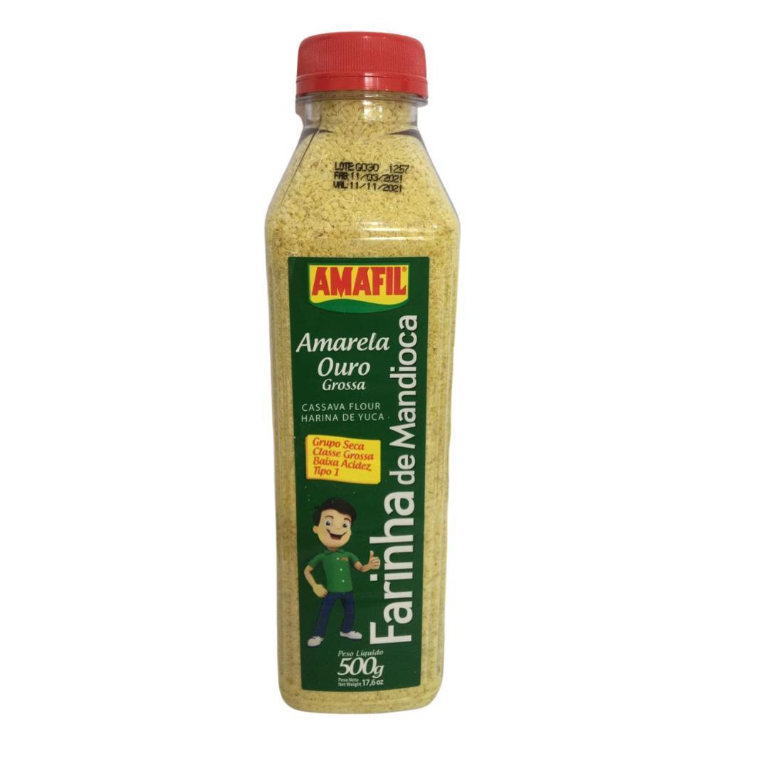Garrafa farinha de mandioca amarela ouro grossa Amafil 500g