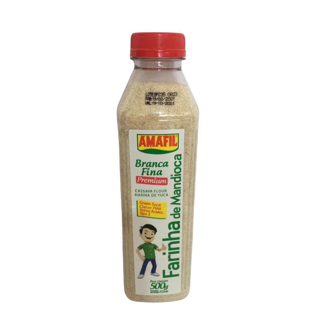 Farinha de mandioca branca fina premium garrafa 500g