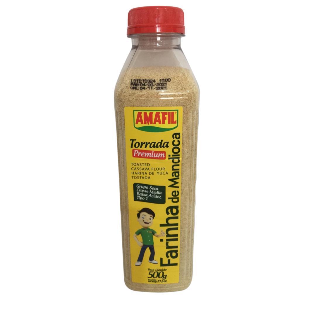 Garrafa farinha de mandioca torrada premium Amafil 500g